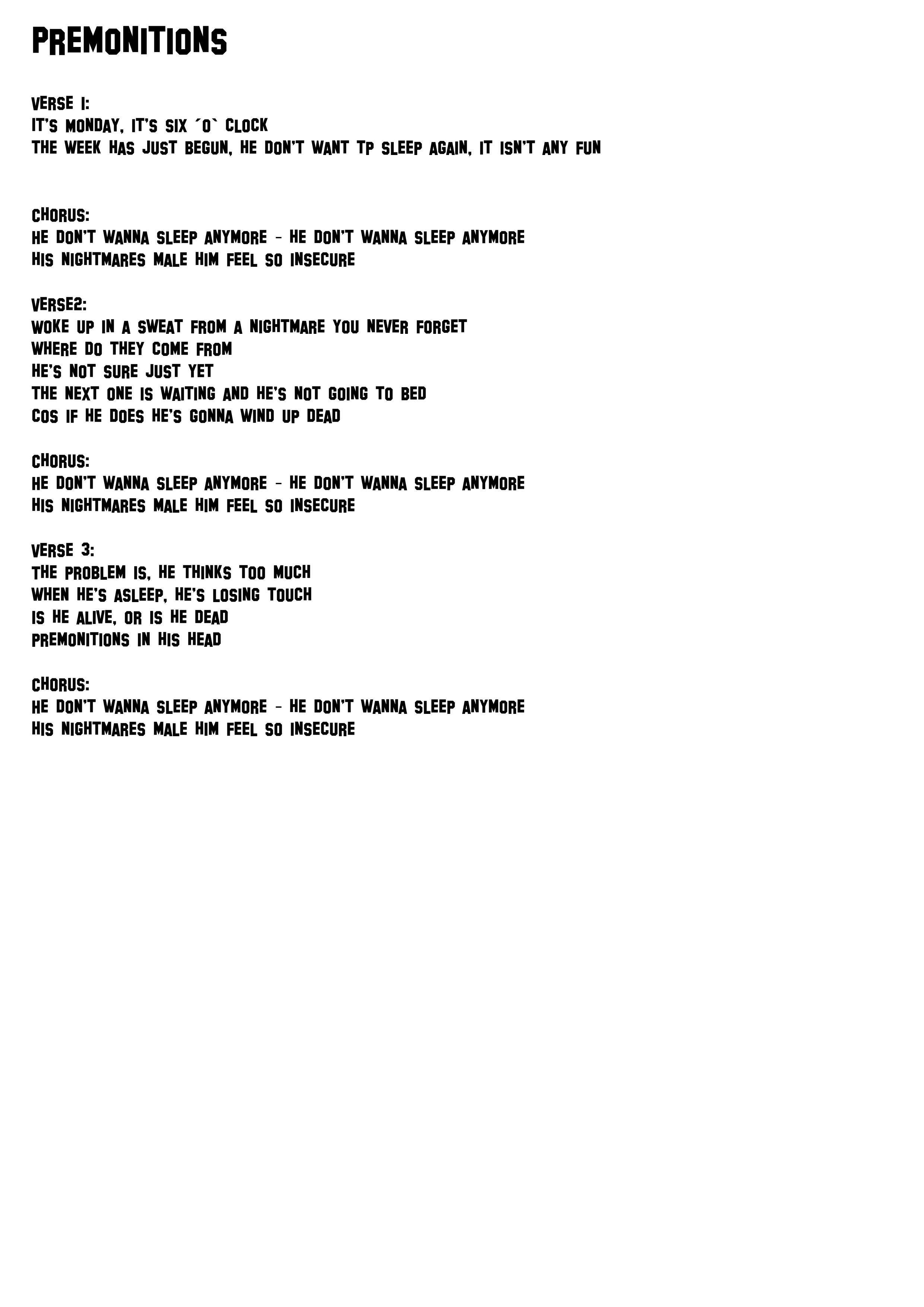 Premonitions lyrics